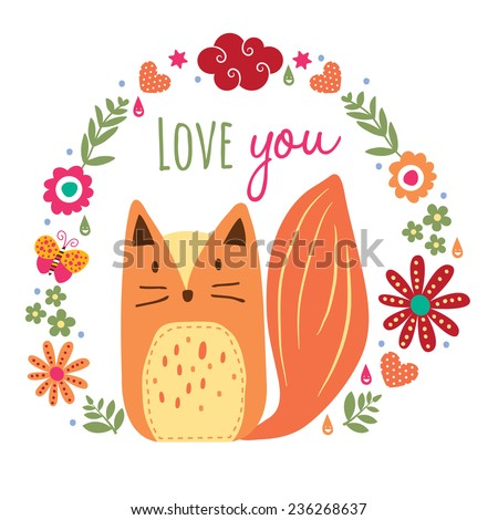 wild fox and floral illustration - stock vector