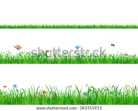 Wild Green grass backgrounds borders with flowers, butterflies and bees. - stock vector