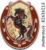 Wild Horse Western Crest - stock vector