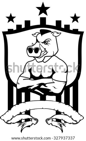 wild pig mascot muscle crest shield tattoo in vector format very easy to edit - stock vector