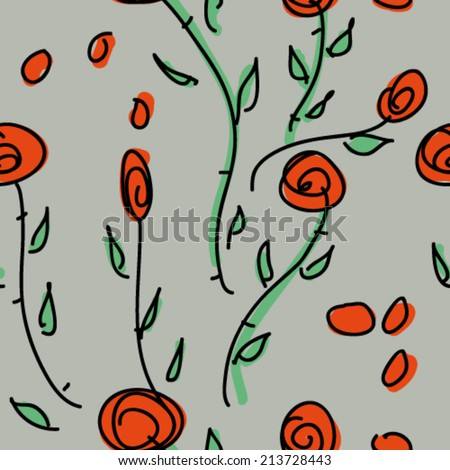 Wild roses / Seamless pattern with flowers  - stock vector