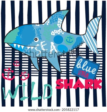 wild shark vector illustration - stock vector