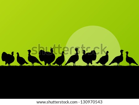Wild turkey hunting season silhouettes in countryside landscape illustration background vector - stock vector