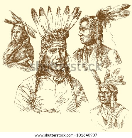 wild west, apache portraits - stock vector