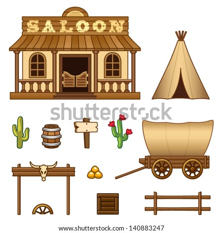 Wild West assets - stock vector