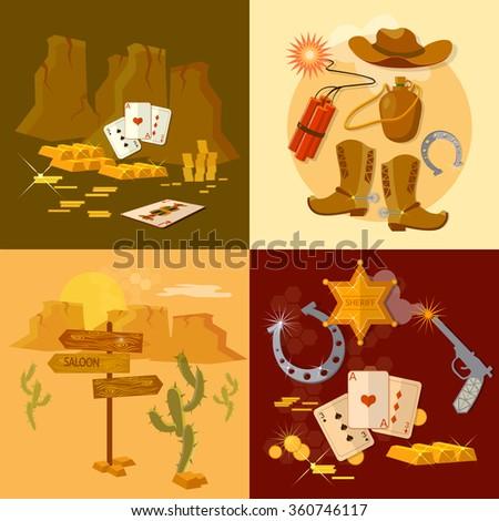 Wild west collection set sheriff cowboy bandit vector illustration - stock vector