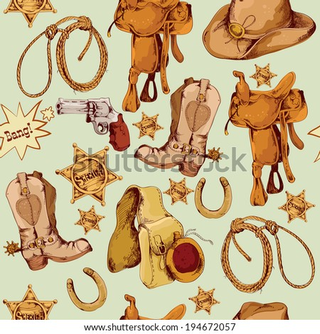 Wild west cowboy colored hand drawn seamless pattern with lasso horse saddle vector illustration - stock vector