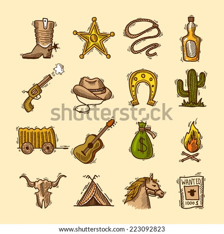 Wild west cowboy colored sketch icons set with boots badge lasso isolated vector illustration - stock vector