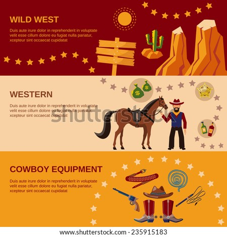 Wild west cowboy equipment western flat banner set isolated vector illustration - stock vector