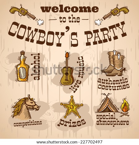 Wild west cowboy hand drawn party set with alcohol live music authentic costume vector illustration - stock vector