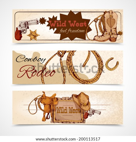 Wild west cowboy rodeo feel freedom colored banners set isolated vector illustration - stock vector