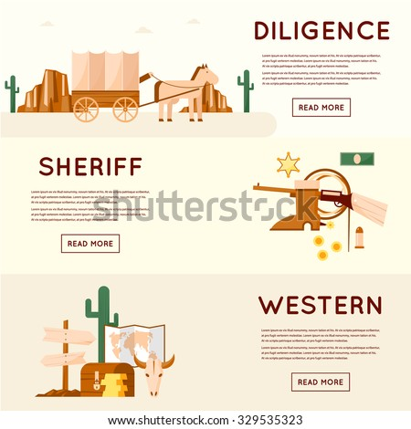 Wild west cowboys, stagecoach driven by gold, sheriff, crossroads desert with cactus and mountains, a chest of gold. Flat style vector illustration. - stock vector