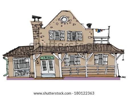 wild west facade - cartoon - stock vector