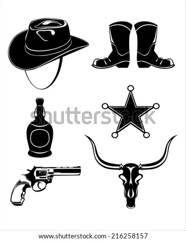 Wild west icons collection - stock vector