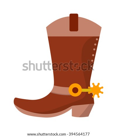 Wild west leather cowboy boots with spurs and stars vector illustration. Boots american spur and boots spur west leather rodeo. Old traditional ranching brown boots. Retro shoe spurs fashion vector. - stock vector