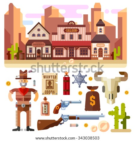 Wild West. Nice western landscape with isolated items below: gun, pistol, cactus, sheriff's badge, bag with reward, gold bar, whiskey, cowboy. Flat vector stock illustration set.  - stock vector