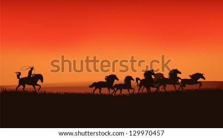 wild west prairie landscape - cowboy chasing the herd of wild horses at the sunset - vector illustration - stock vector