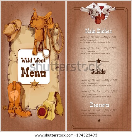 Wild west restaurant menu template with cowboy elements vector illustration - stock vector