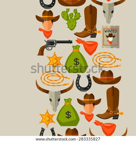 Wild west seamless pattern with cowboy objects and design elements. - stock vector