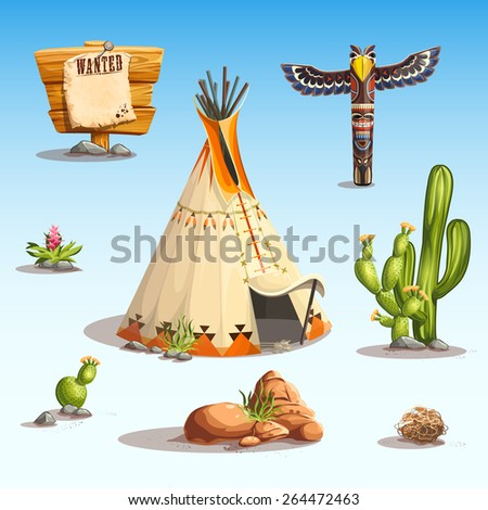 Wild west set with cactus, wigwam, shaman totem stones, flowers, rocks, sign wanted for video web game user interface - stock vector