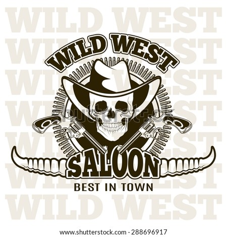 Wild west shooting club, saloon.  Carved retro emblem. - stock vector