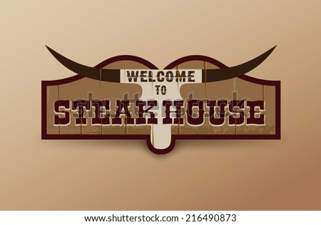Wild West sign. Retro wooden sign. Steakhouse sign - stock vector