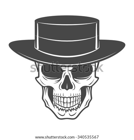 Wild west skull with hat. Smiling rover logo template. Wanted die or alive portrait. High way man t-shirt design. - stock vector