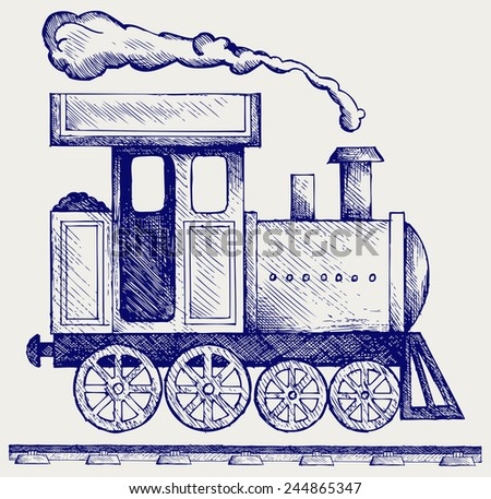 Wild West steam locomotive. Toy train. Doodle style - stock vector