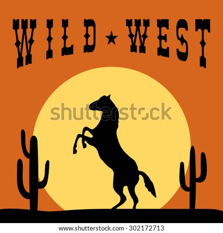 Wild West Typography Graphics. T-shirt Printing Design. Original wear. Fashion Print for apparel. Horse on sunset background. Vector illustration - stock vector