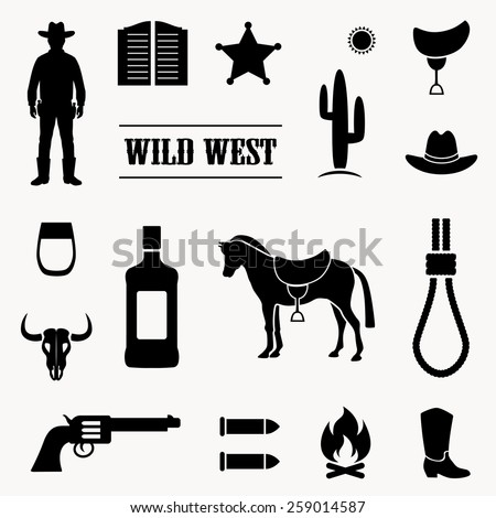 wild west vector background, western cowboy illustration,  - stock vector