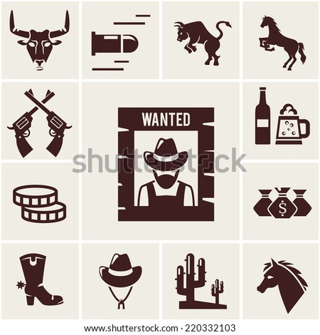 Wild West wanted poster and associated icons of crossed guns  a snorting bull  rearing bull  horse  mustang  bullet  beer for a saloon  money  cowboy boot  stetson hat  cactus  vector illustrations - stock vector