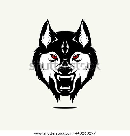 Wild wolf face. Vector Editable Illustration - stock vector