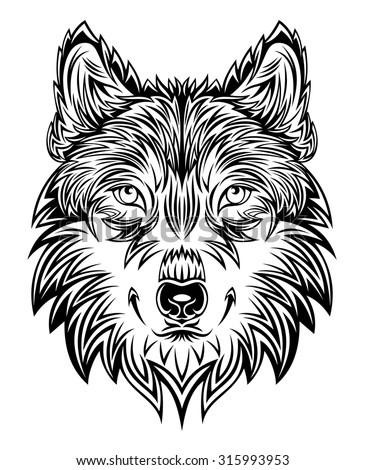 Wild wolf head. Vector Graphics - stock vector