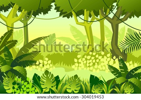 wild Wood. jungle. Vector Illustration - stock vector