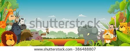Wildlife African Animals Background/ Cute cartoon wild animals from african savannah, with lion, gorilla, elephant, giraffe, gazelle, gorilla monkey, hippo, ape and zebra on wide jungle background - stock vector