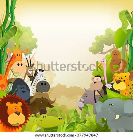 Wildlife African Animals Background/ Illustration of cute cartoon wild animals from african savannah, with lion, gorilla, elephant, giraffe, gazelle, gorilla monkey, ape and zebra on jungle background - stock vector