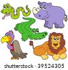 Wildlife cute animals collection - vector illustration. - stock vector