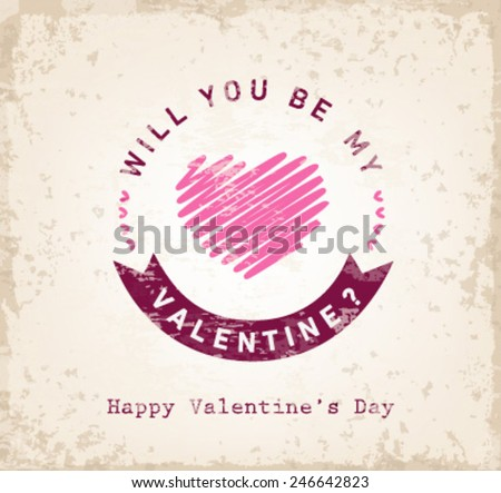 Will You Be My Valentine? - Valentines Day Typography Background - stock vector