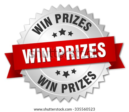 win prizes 3d silver badge with red ribbon. win prizes badge. win prizes. win prizes sign - stock vector