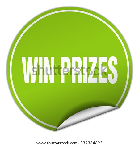 win prizes round green sticker isolated on white - stock vector