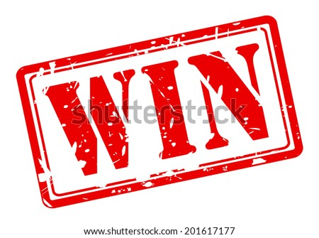 Win red stamp text on white - stock vector