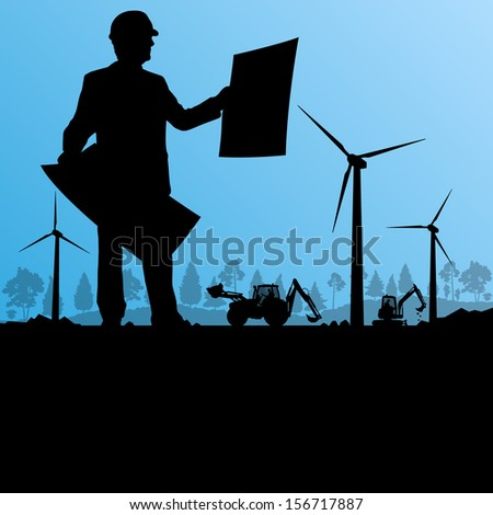 Wind electricity generators with construction man engineer and excavator in countryside field construction site landscape illustration background vector - stock vector