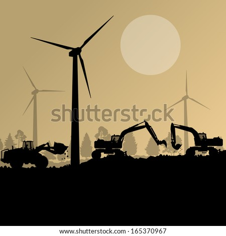 Wind electricity generators with excavator loaders in countryside field construction site landscape illustration background vector - stock vector
