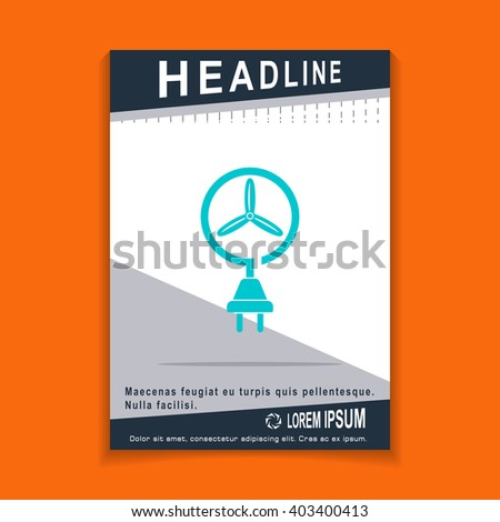 wind energy icon, flyers brochure Vector Layout template, size A4 - stock vector