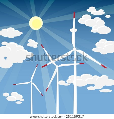 Wind Energy - Wind Turbines with Blue Sky Sunny Cloudscape background - stock vector