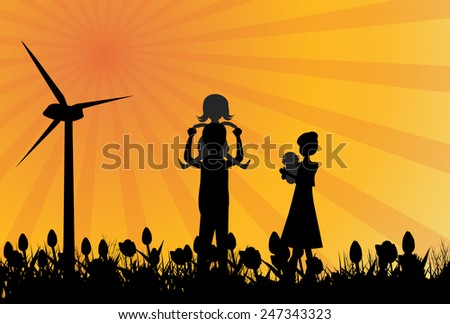 Wind farm and family.Silhouette of family in field with windmill-Vector illustration - stock vector