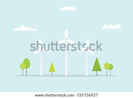 Wind farm. Cartoon windmill. Simple flat image - stock vector