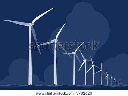 Wind farm turbines at sea - stock vector