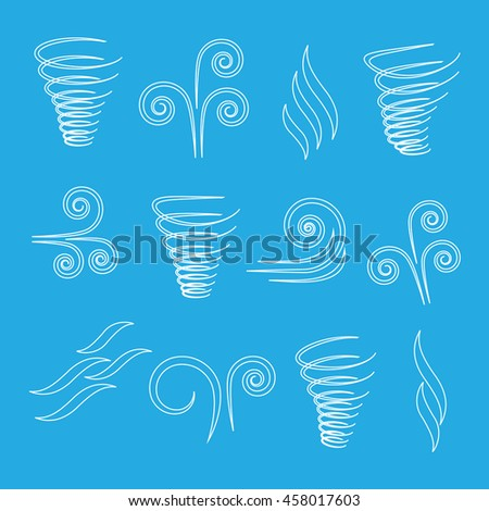 Wind icons nature, wave flowing - stock vector