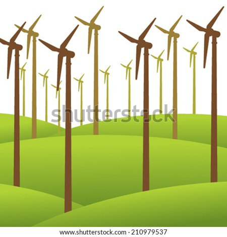 wind mill renewable energy background vector - stock vector
